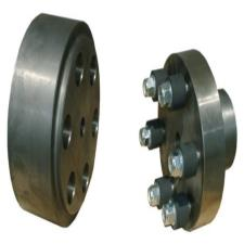 Brake drum with extended hub and rubber-elements coupling